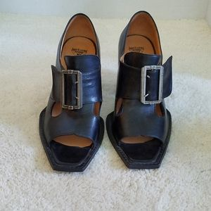 John Fluevog Black Leather Buckled Heels